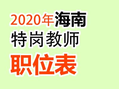 2020年海南特岗教师职位表招800人汇总