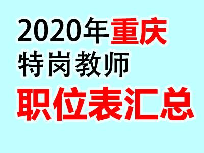 <b>重庆市2020年特岗教师公开招聘302人职位表汇总</b>