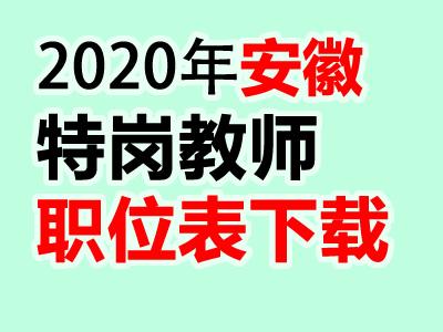 2020年安徽特岗教师招聘岗位计划职位表下载汇总(官方版)