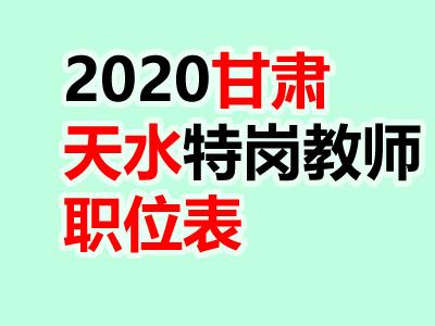 2020年甘肃天水特岗教师招聘527人职位表公告