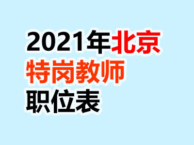 2021北京特岗计划乡村教师招聘职位表下载
