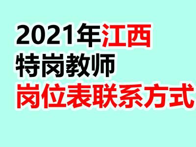 江西省2021年特岗教师招聘岗位表及联系电话