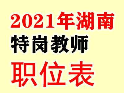 2021年湖南特岗教师职位表汇总下载(