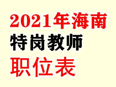 2021海南省特岗教师招聘700人岗位表汇总
